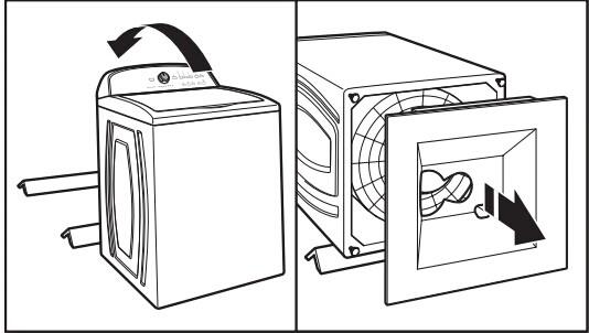 警示:过重的危险!用两个或者更多的人去移动和安装洗衣机!如果不按照此指示可能会导致背部或者其他部位受伤! 1、搬动洗衣机  搬动洗衣机到离墙面1.2米(4英尺)的距离,必须完全垂直于墙面。 注意:为了避免地板损坏,在搬动洗衣机之前用胶带封住盖子,下面垫一个硬纸板。  2、卸下装运箱底部  为了避免损坏地板,把硬纸板放在洗衣机装货箱后面,向后翻倒洗衣机,让其倒在硬纸板上,拿掉装运箱底部,把洗衣机竖起来。 重要提示:移除洗衣机装运箱底部是一个必要操作,如果洗衣机包含良好的保护措施,请遵照附带的包装指示进行